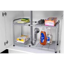 sink kitchen cabinet organizer home basics 11 50 in x 23 5 in 2 tier adjustable and kitchen shelf organizer ss44284 the home depot