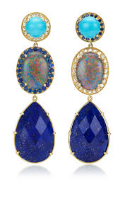 turquoise opal earrings andrea fohrman unique turquoise oval australian opal with rosecut
