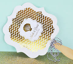 personalized fans for weddings metallic foil paddle fans wedding