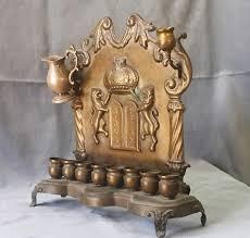 antique menorah antique hanukkah menorah 19thc warsaw copper commandments