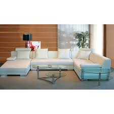 divani casa t35 white leather sectional sofa with light lounge la