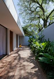 plant filled courtyards create natural enclaves in brazilian home