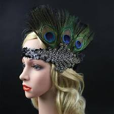 great gatsby headband peacock feather headpiece flapper vintage 1920s great gatsby