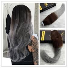Black To Brown Ombre Hair Extensions by Balayage Remy Ombre Black Brown Seamless Tape In Human Hair