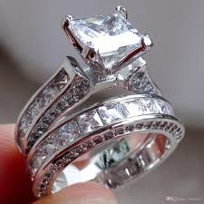 color wedding rings images Cz crystal set double rings female silver color wedding diamond jpg