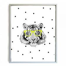 affiche chambre garcon minimel affiche tigre et lunettes déco chambre enfant