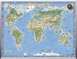illustrated map of the world regio
