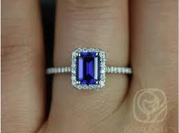 sapphire emerald cut engagement rings rosados box lisette 7x5mm white gold rectangle emerald cut blue
