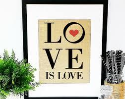 Custom Burlap Art Print Love - gay burlap art etsy
