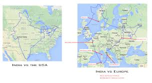 Map Of Usa And Europe by How Big Is India 1300x710 Mapporn