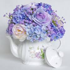 silk flowers teapot silk floral arrangement artificial flower arrangement