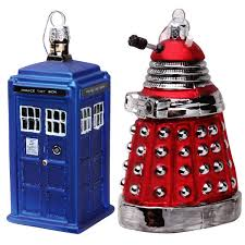 doctor who ornaments set tardis and dalek