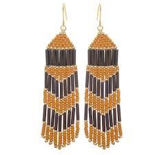 chevron beaded fringe earrings mauve gold pumpkin exclusive