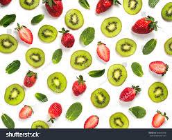 kiwi fruit slice strawberry mint leaves stock photo 604040438