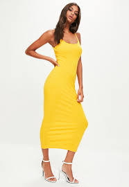 yellow dress yellow strappy ribbed midi dress missguided