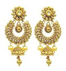 ear ring traditional earring traditional gold plated white with
