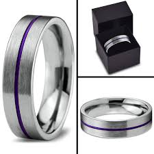 Purple Wedding Rings by Tungsten Wedding Band Ring 6mm For Men Women Purple Silver Flat