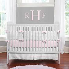 Pink Gray Crib Bedding And Pink Baby Bedding