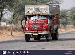 indian car on road indian truck on the road near bikaner rajasthan northern india