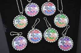 4 fourth grade bottlecap necklaces or zipper pulls 4th grade