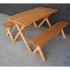 Wooden Picnic Tables With Separate Benches Detached Benches Picnic Tables Hayneedle