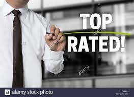toprated top rated written by businessman background concept stock photo