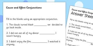 cause and effect connectives worksheet connectives effect