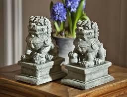small temple foo dog asian cast garden