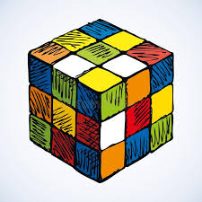 rubik s icon of rubik s cube vector sketch editorial stock image