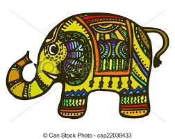 vectors of indian decorative elephant hand drawn cartoon