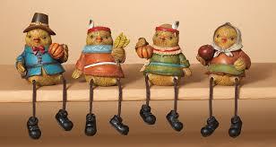 set of 4 autumn harvest bird pilgrim and american figurines