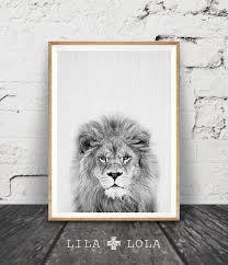 lion print nursery animal wall art kids printable art black and
