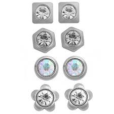 stainless steel stud earrings sparkles stainless steel ear post stud earrings silver tone for m