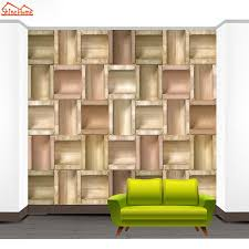 shinehome classical wood frame brick background 3d photo wallpaper