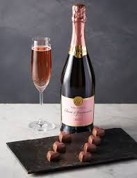chocolate wine pink sparkling wine shimmer heart chocolates m s