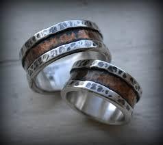 artisan wedding rings rustic wedding rings silver and copper handmade artisan