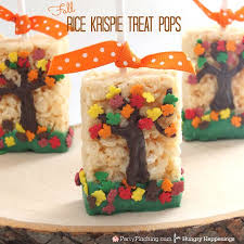 fall tree rice krispie treats thanksgiving dessert