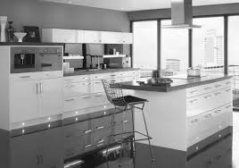 laconic grey and black kitchen united with a living space kitchen