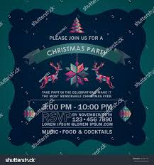 Invitation Card For Christmas Colorful Abstract Deer Christmas Party Invitation Stock Vector