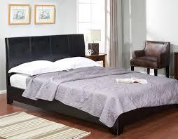 Black Leather Platform Bed Lorenzo Black Leather Platform Bed No Boxspring Required Kassa