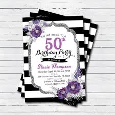 50th birthday invitation elegant purple flower 50th by crazylime