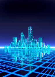 city backdrop a neon grid effect backdrop with city stock illustration