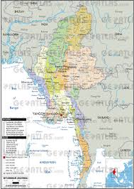 Map Burma Geoatlas Countries Myanmar Map City Illustrator Fully