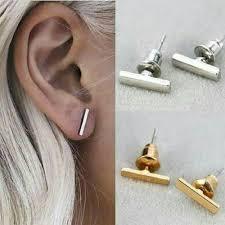 modern gold stud earrings gold staple stud earrings 14k solid gold tiny bar studded