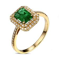 gold emerald engagement rings designer 2 carat emerald and halo engagement ring