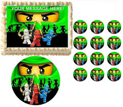 green ninjago edible cake topper frosting sheet all sizes