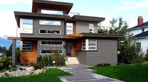 nice grey nuance of the exterior paint color for modern house can