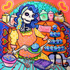 Mexican Kitchen Decor by Day Of The Dead Art Print Kitchen Catrina Orange Blue Dia De