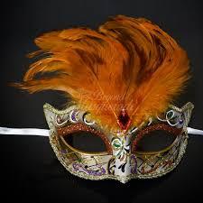 orange mardi gras mardi gras feather masquerade mask orange m1174a beyond party