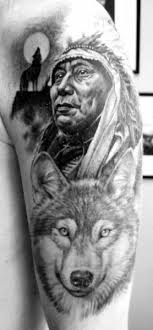 indian chief and wolf designs wolf